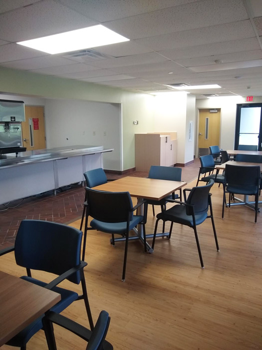 chairs and tables set up in the cafeteria at Anabranch Recovery Center - Terre Haute Drug and Alcohol Addiction Treatment Center and Detox ServicesAnabranch Recovery Center - Terre Haute Drug and Alcohol Addiction Treatment Center and Detox Services