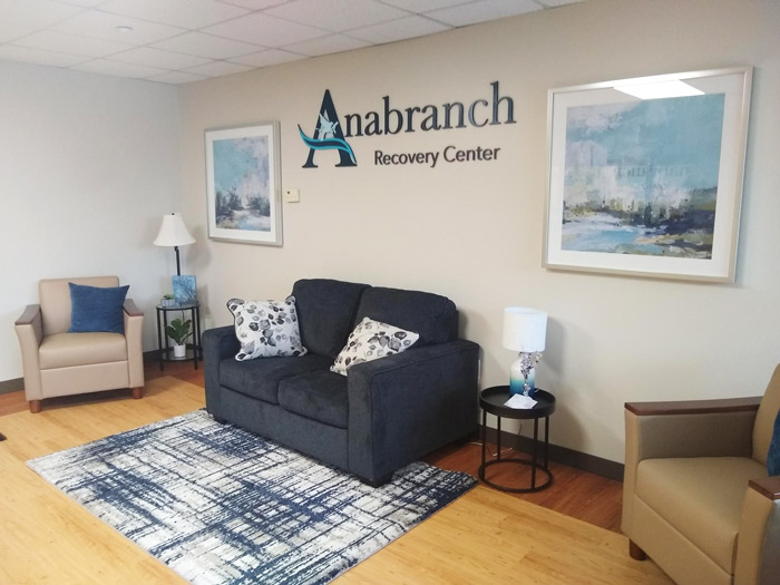 well decorated lobby with comfortable seating at Anabranch Recovery Center - Terre Haute Drug and Alcohol Addiction Treatment Center and Detox Services