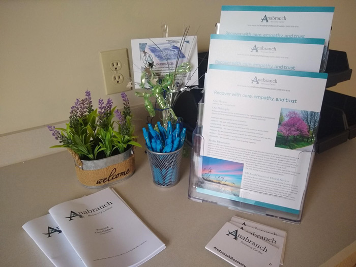 pamphlets and other information in lobby of Anabranch Recovery Center - addiction treatment in Terre Haute