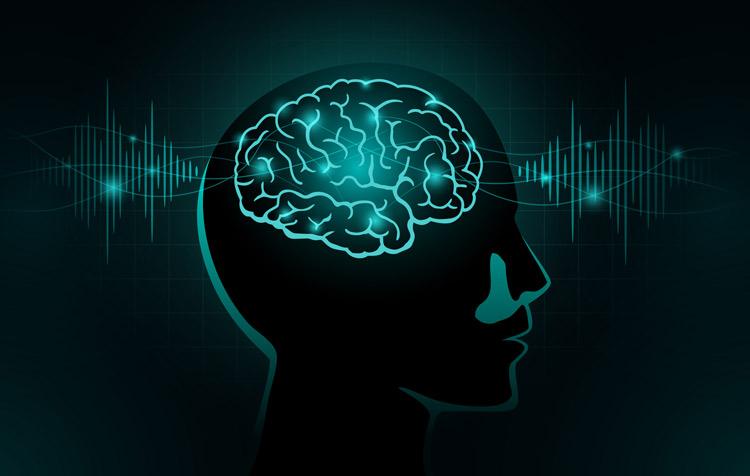 digital illustration depicting brain and brainwaves